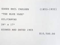 """Gallery Index Card for Emil Carlsen's The Blue Vase"" provided by Patricia Weiner Gallery, Cincinnati, OH, c.1998"