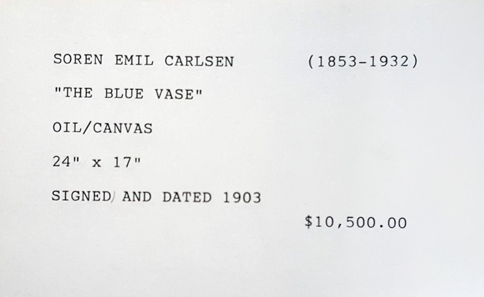 """""""Gallery Index Card for Emil Carlsen's The Blue Vase"""" provided by Patricia Weiner Gallery, Cincinnati, OH, c.1998"""
