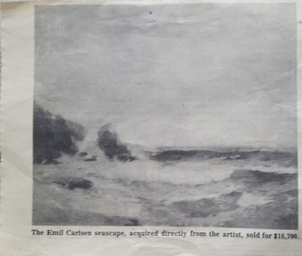 "Unknown newspaper clipping, ""(Full Tide Sold) provided by the Patricia Weiner Gallery, Cincinnati, OH"", c.1955?, illustrated: B&W"