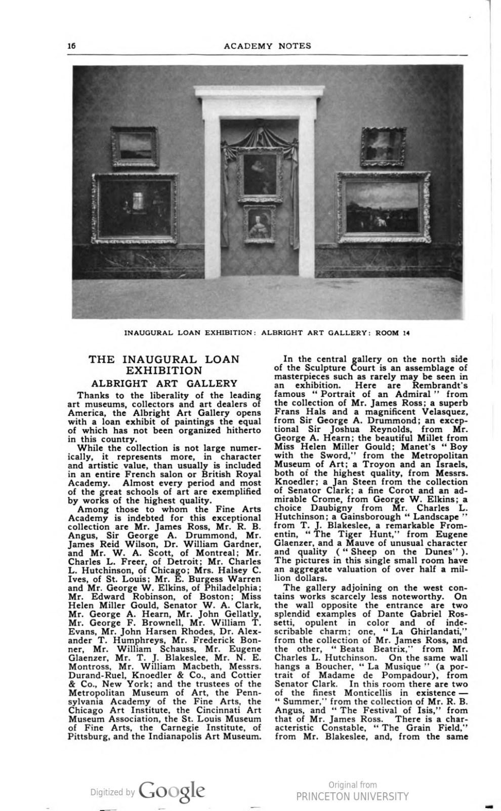 """Academy Notes, Buffalo Fine Arts Academy, Albright Art Gallery, Buffalo, NY, """"The Inaugural Loan Exhibition Albright Art Gallery"""", June 1905, Volume 1, Number 1, page 16-18, not illustrated"""