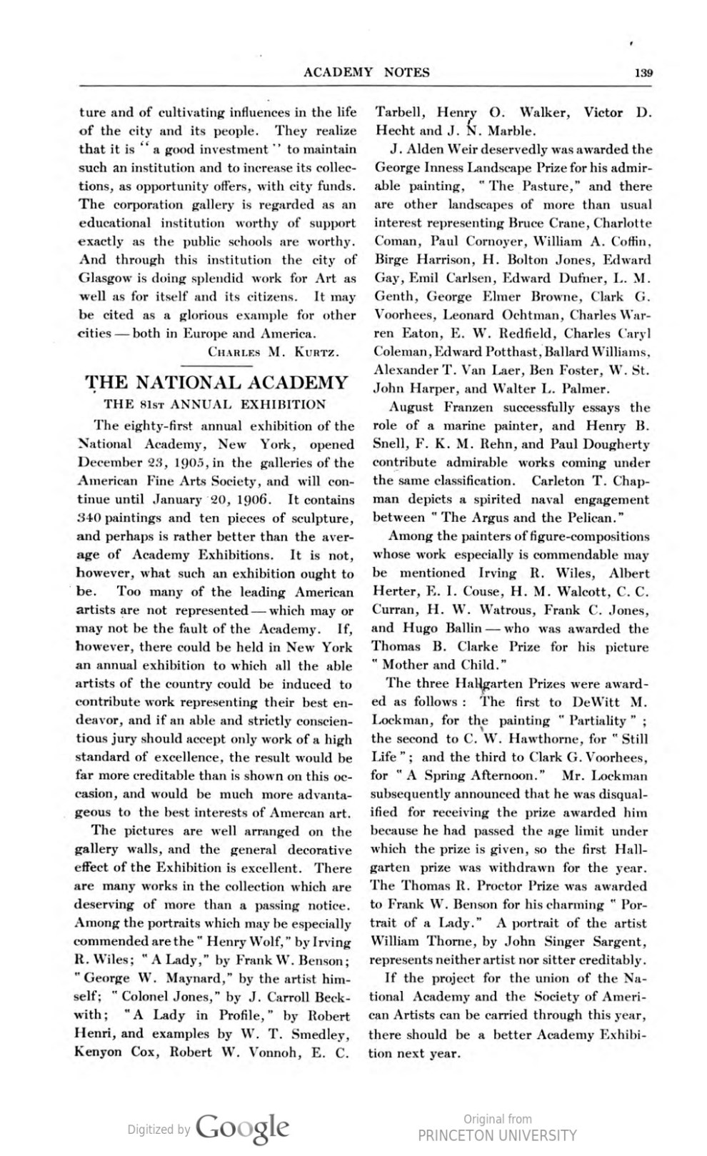 "Academy Notes, Buffalo Fine Arts Academy, Albright Art Gallery, Buffalo, NY, ""The National Academy The 81st Annual Exhibition"", January, 1906, Volume 1, Number 8, page 139, not illustrated"
