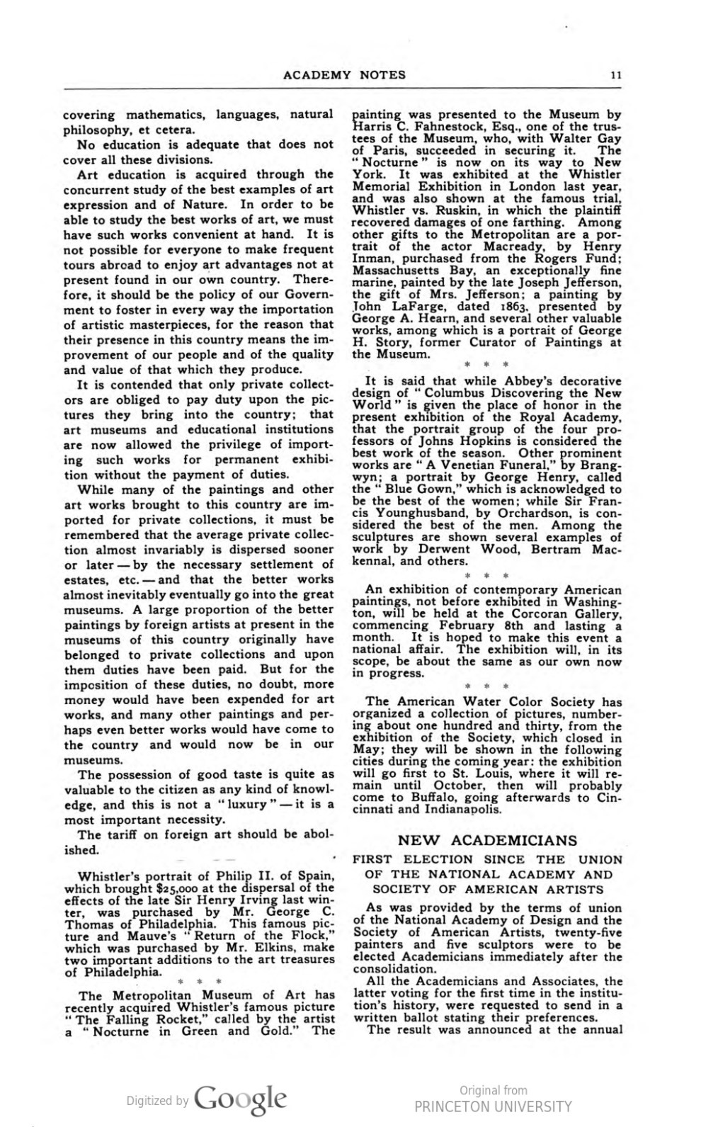 "Academy Notes, Buffalo Fine Arts Academy, Albright Art Gallery, Buffalo, NY, ""New Academicians First Election Since The Union of the National Academy and Society of American Artists"", June, 1906, Volume 2, Number 1, page 11-12, not illustrated"