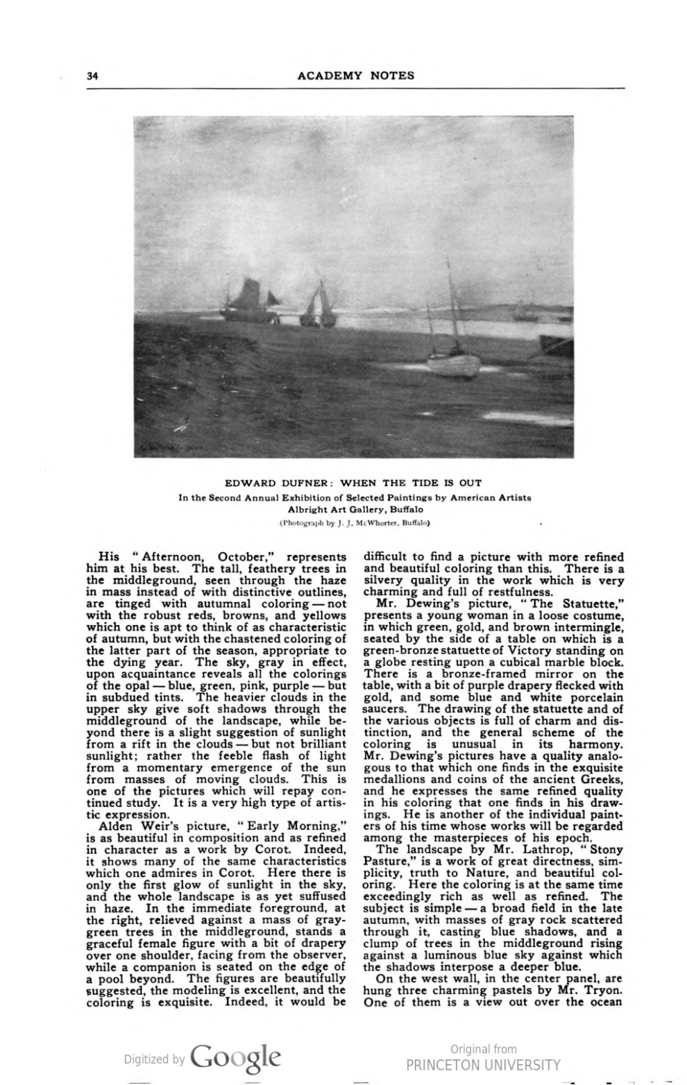 """Academy Notes, Buffalo Fine Arts Academy, Albright Art Gallery, Buffalo, NY, """"Second Annual Exhibition Selected American Paintings at the Albright Art Gallery Second Paper"""", August, 1907, Volume 3, Number 3, page 33-39, illustrated: b&w photo on page 38"""