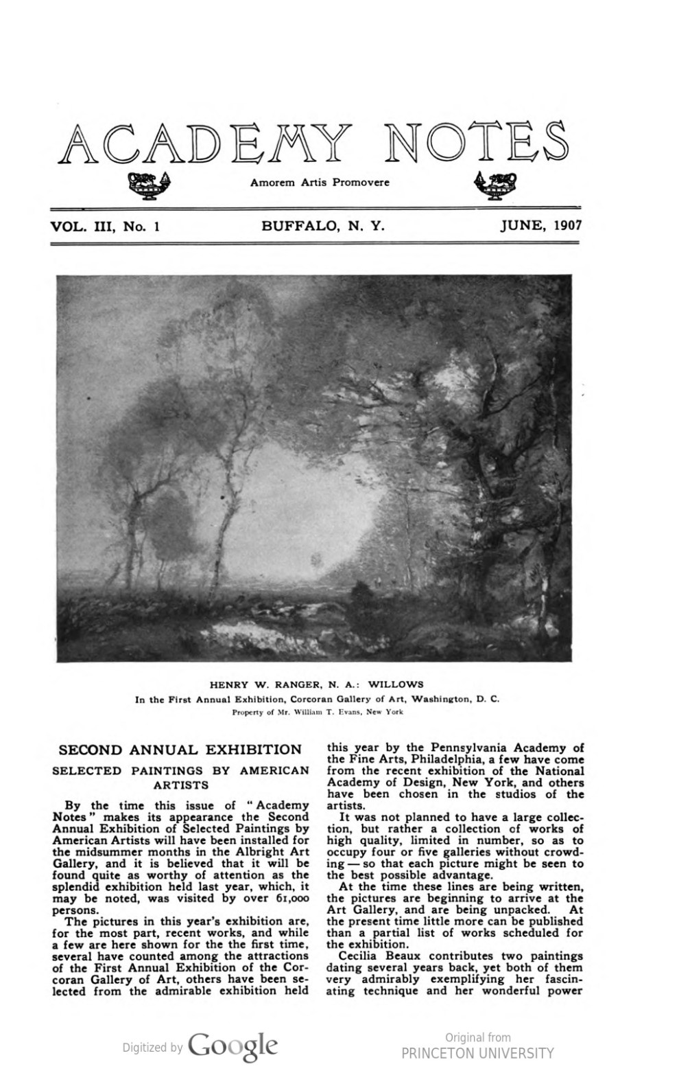 "Academy Notes, Buffalo Fine Arts Academy, Albright Art Gallery, Buffalo, NY, ""Second Annual Exhibition Selected Paintings by American Artists"", June, 1907, Volume 3, Number 1, page 1-3, not illustrated"