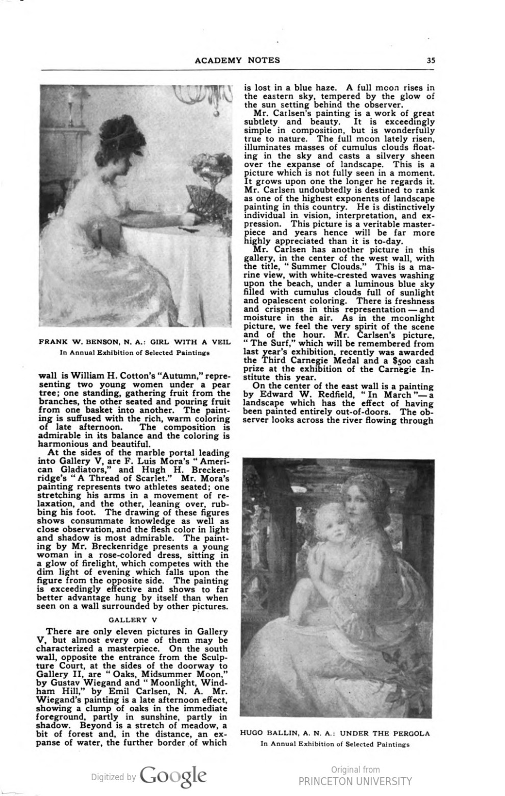"Academy Notes, Buffalo Fine Arts Academy, Albright Art Gallery, Buffalo, NY, ""Third Annual Exhibition Selected American Paintings at the Albright Art Gallery Third Paper"", August, 1908, Volume 4, Number 3, page 33-37, not illustrated"