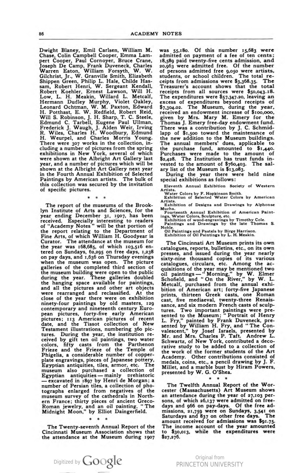 """Academy Notes, Buffalo Fine Arts Academy, Albright Art Gallery, Buffalo, NY, """"Art Museum Notes"""", November, 1908, Volume 4, Number 6, page 85-86, not illustrated"""