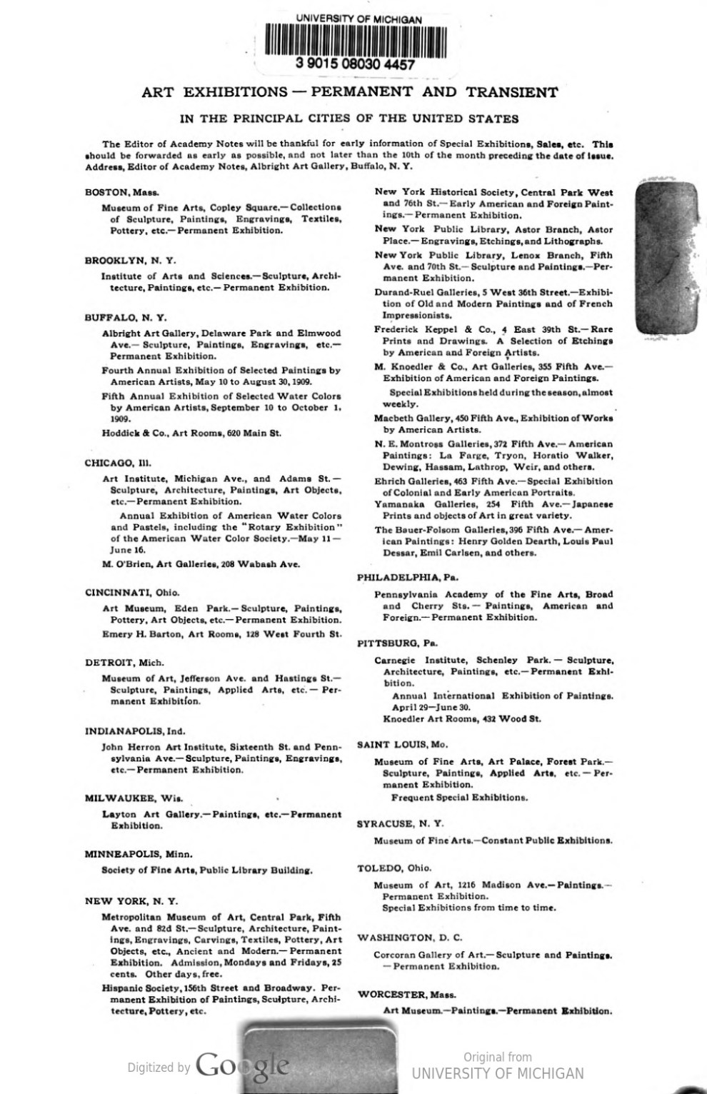 "Academy Notes, Buffalo Fine Arts Academy, Albright Art Gallery, Buffalo, NY, ""Art Exhibitions—Permanent and Transient "", May, 1909, Volume 4, Number 12, page 225, not illustrated"