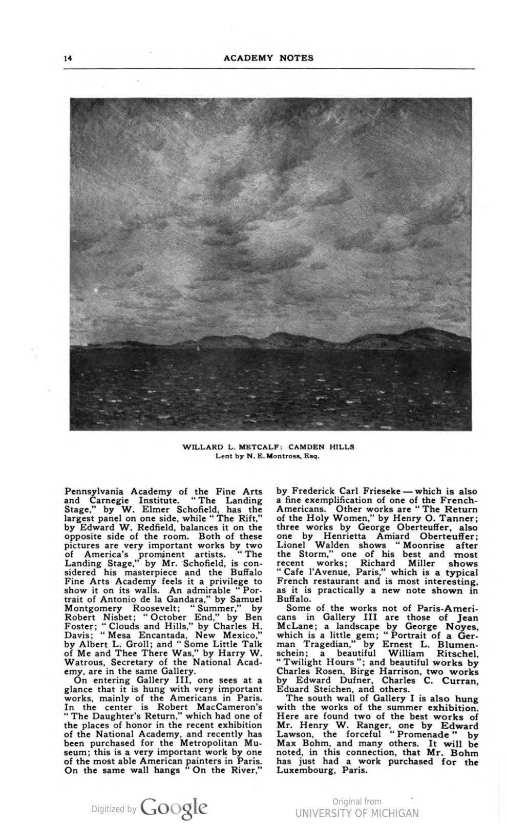 "Academy Notes, Buffalo Fine Arts Academy, Albright Art Gallery, Buffalo, NY, ""The Fifth Annual Exhibition of Selected Paintings by American Artists"", July, 1910, Volume 5, Number 3, page 7-15, not illustrated."