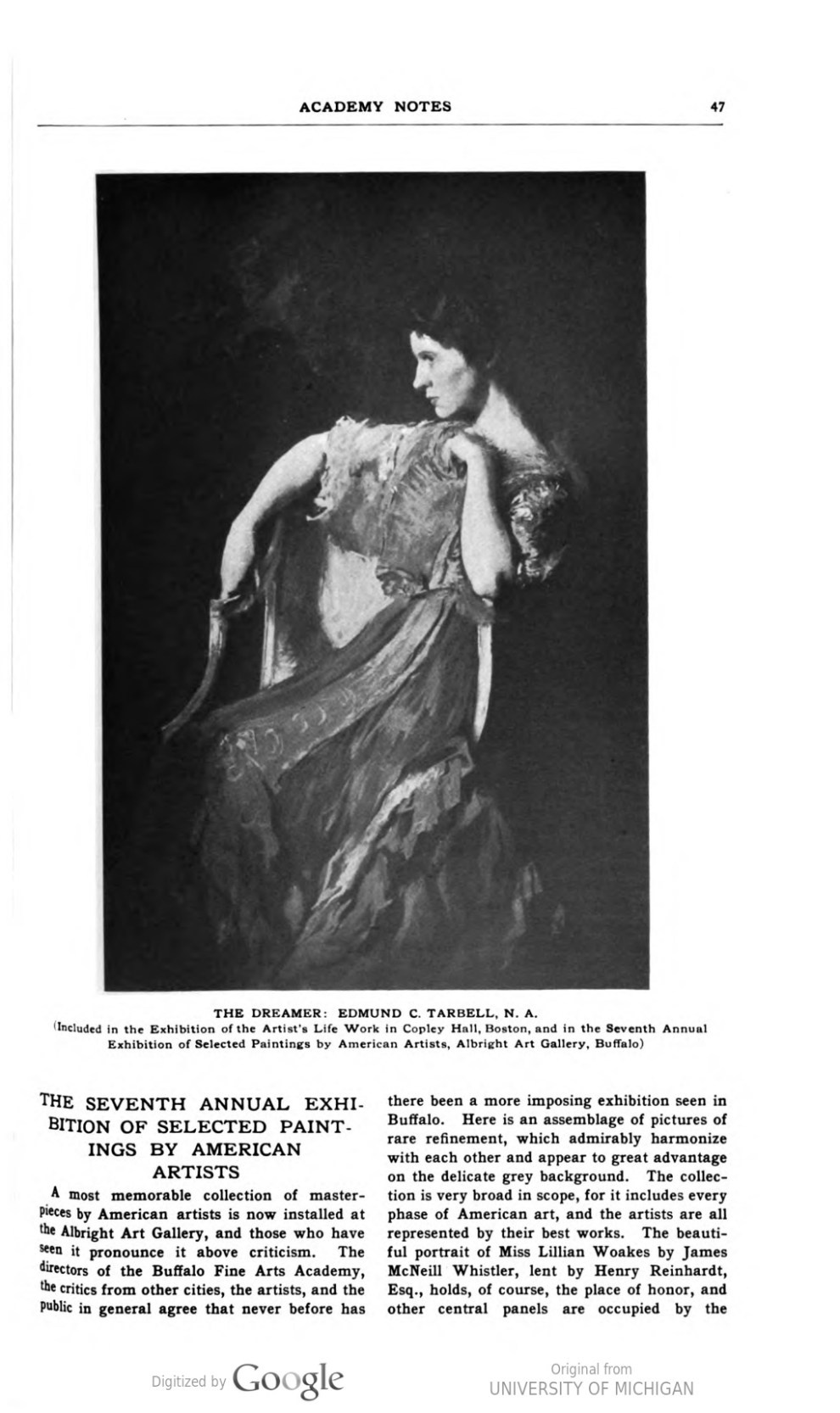 """Academy Notes, Buffalo Fine Arts Academy, Albright Art Gallery, Buffalo, NY, """"The Seventh Annual Exhibition of Selected Paintings by American Artists"""", July, 1912, Volume 7, Number 3, page 47-52, not illustrated."""