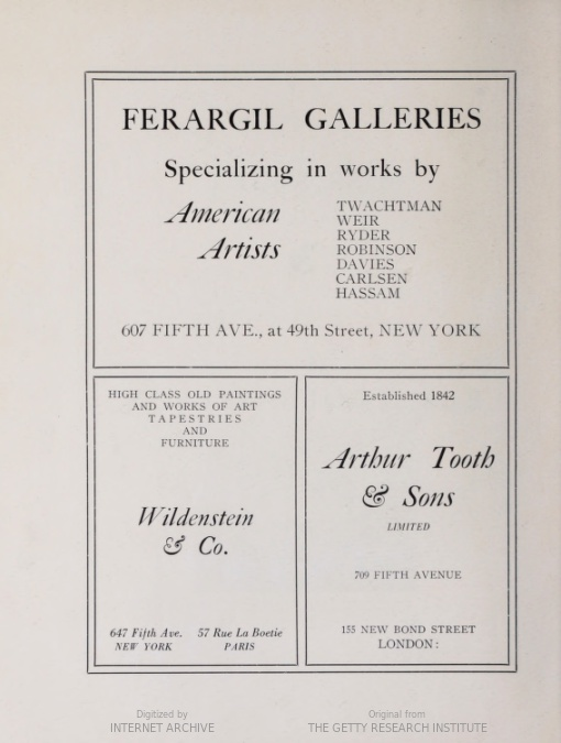 """1921 Junior Art Patrons of America, Fine Arts Building, New York, NY, """"First Retrospective Exhibition of American Art"""", May 6-21"""