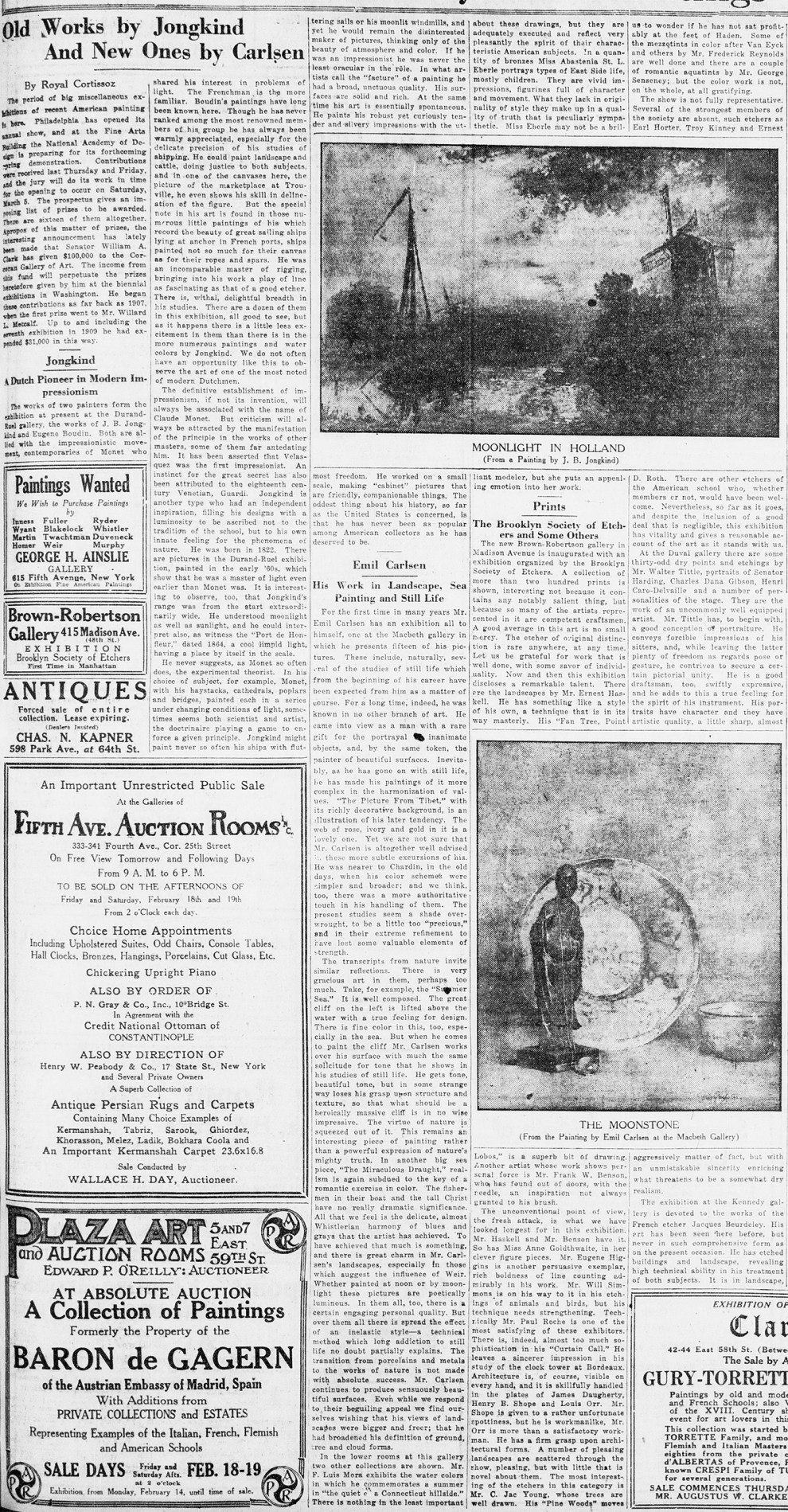 "New-York Tribune, New York, NY, ""Old Works by Jongkind And New Ones by Carlsen"", Sunday, February 13, 1921, page 7, illustrated: b&w on page 7"