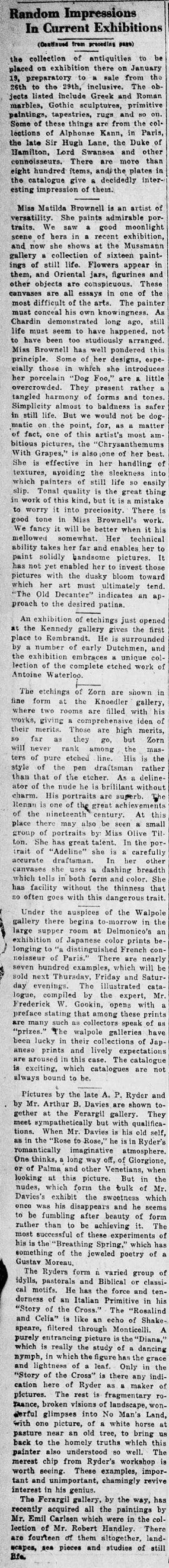"""New York Tribune, New York, NY, """"Random Impressions In Current Exhibitions"""", Sunday, January 16, 1921, First Edition, Page 40, not illustrated"""