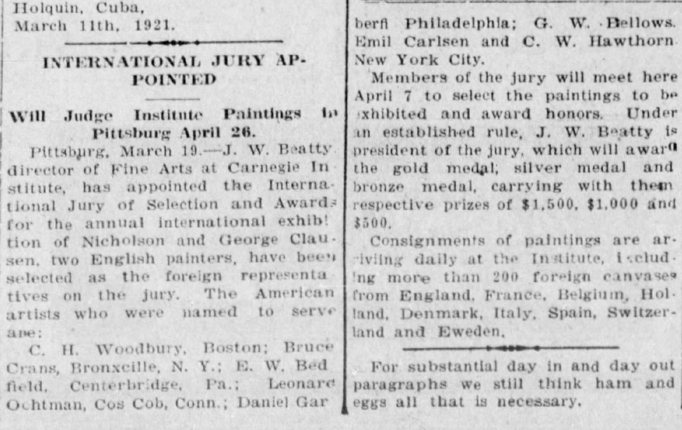 "The Vicksburg Herald, Vicksburg, MI, ""International Jury Appointed"", Sunday, March 20, 1921, page 10, not illustrated"