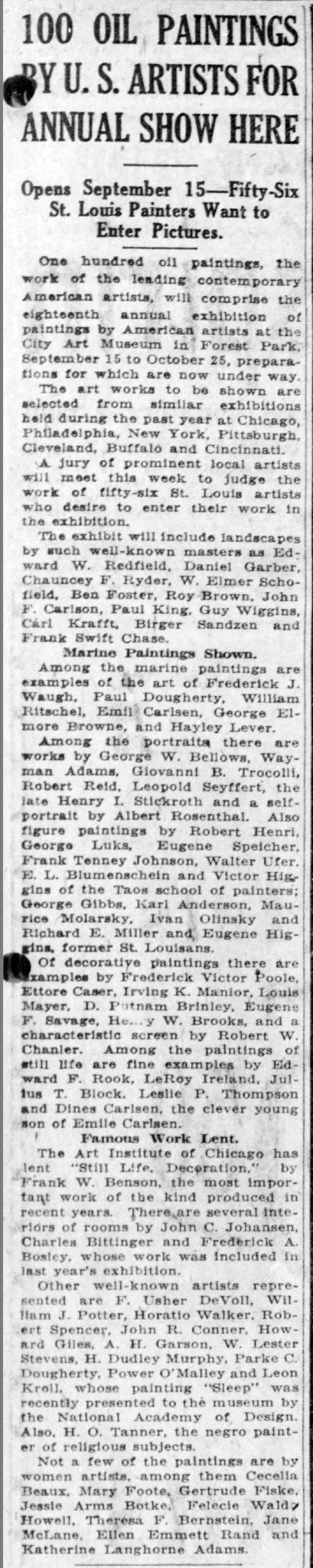 "The St. Louis Star and Times, St. Louis, MO, ""100 Oil Paintings by U.S. Artists for Annual Show Here"", Thursday, September 6, 1923, Main Edition, page 5, not illustrated"