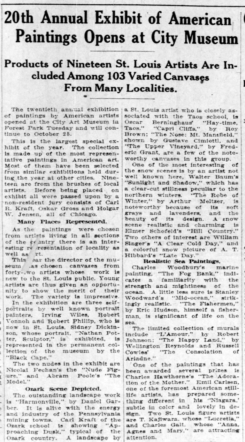 "The St. Louis Star and Times, St. Louis, MO, ""20th Annual Exhibit of American Paintings Opens at City Museum"", Saturday, September 19, 1925, Main Edition, page 3, not illustrated"