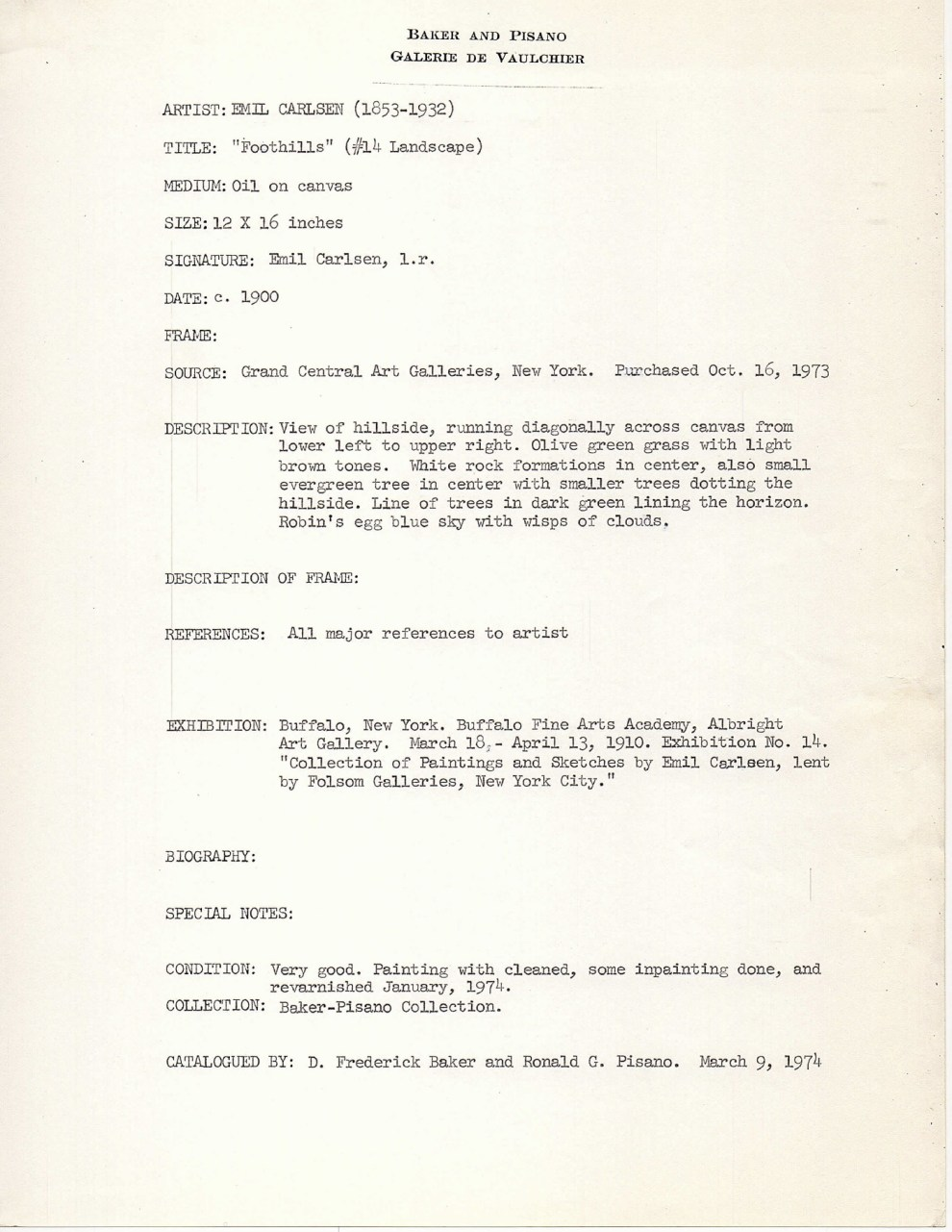 """Baker-Pisano [1949-2000] collection notes on Emil Carlsen Works"" by D. Frederick Baker, March 9, 1974"