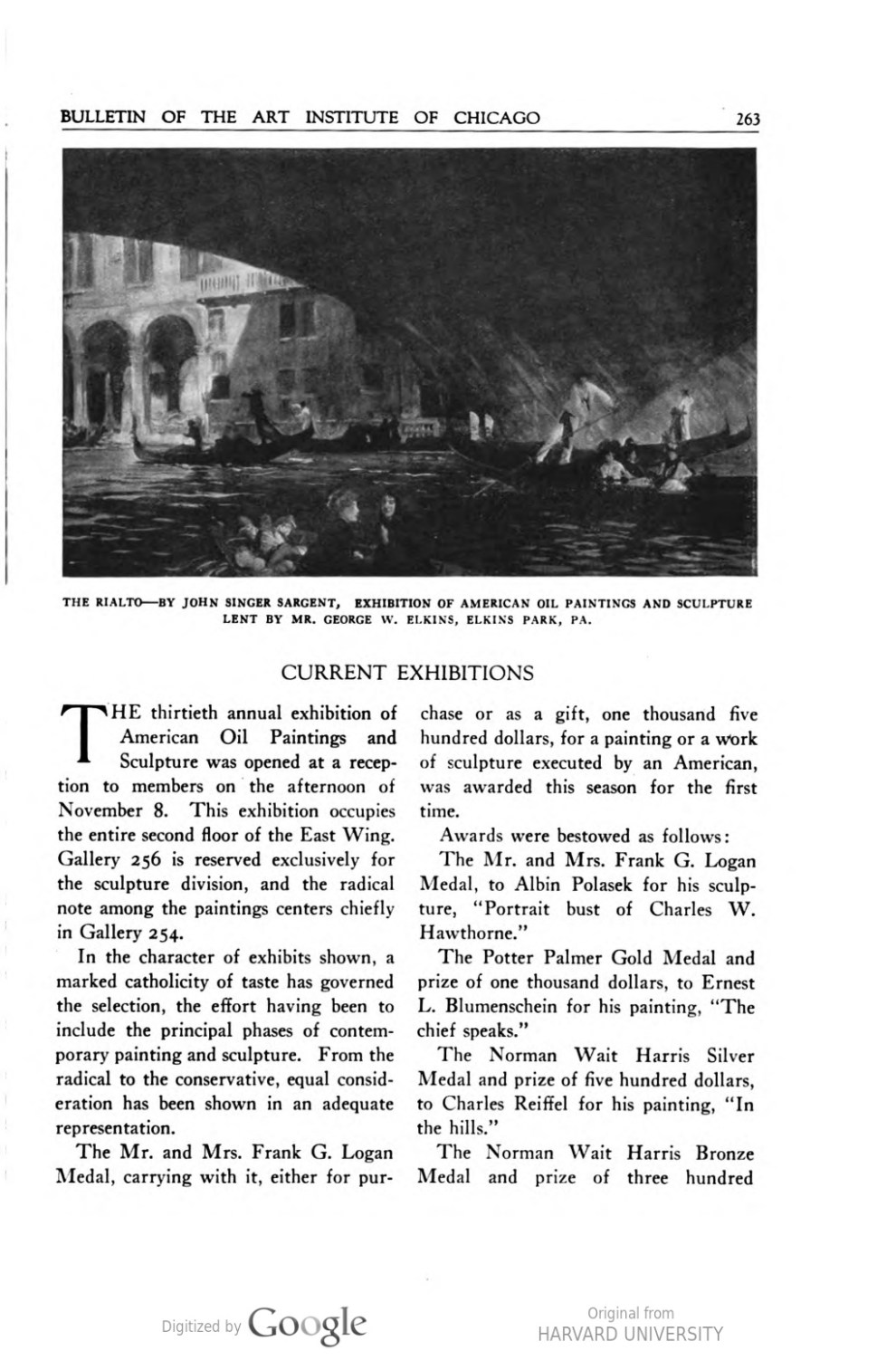 """Bulletin of the Art Institute of Chicago, Chicago, IL, """"Current Exhibitions"""", December, 1927, volume 11, number 8, page 263-267, not illustrated"""