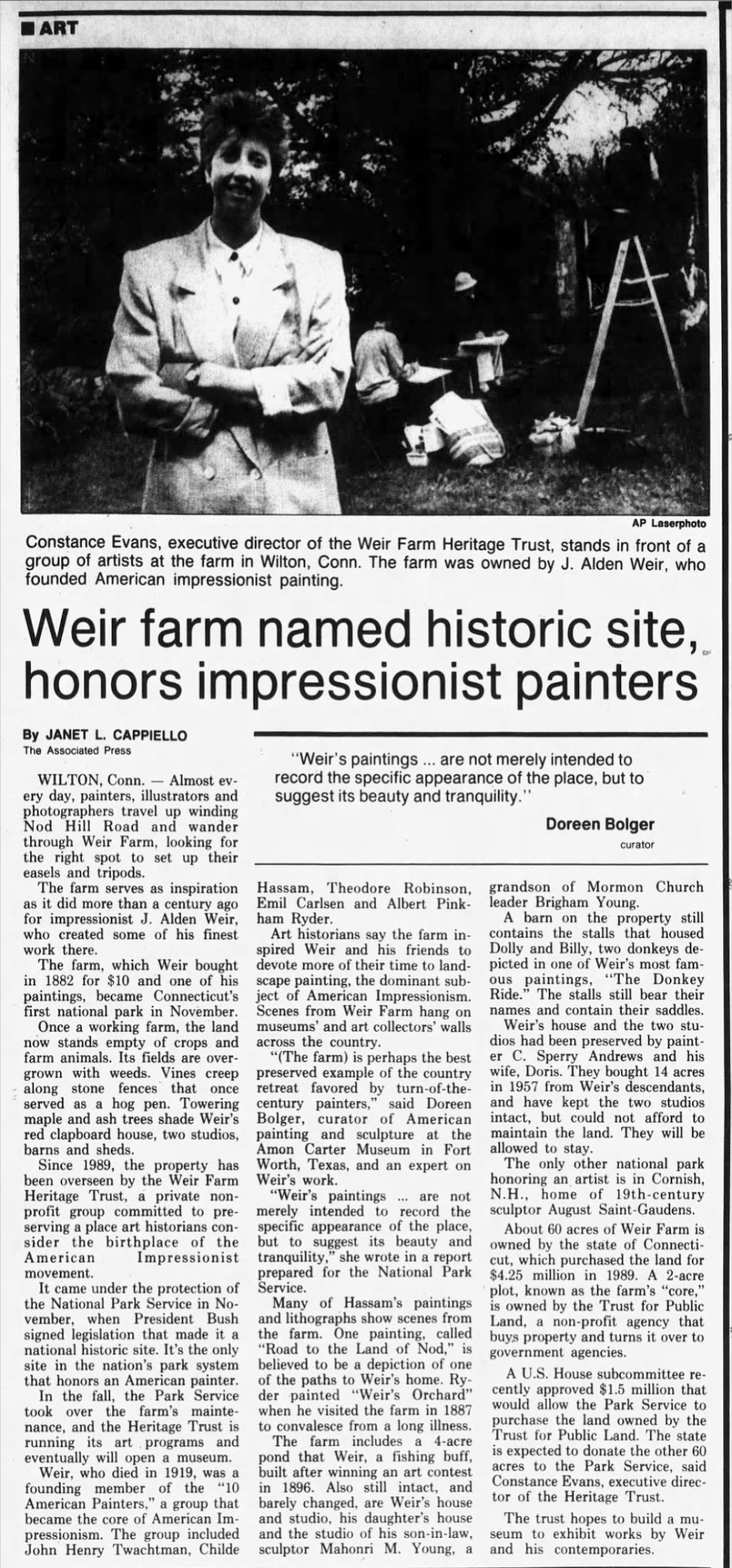 """Northwest Herald, Woodstock, IL, """"Weir farm named historic site honors impressionist painters"""" by Janet L. Cappiello, Thursday, November 28, 1991, Main Edition, page 45, not illustrated"""