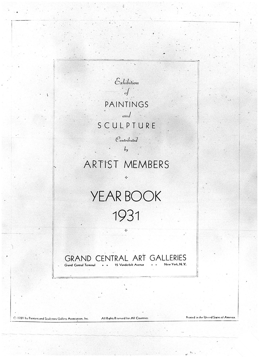 "1931 Grand Central Art Galleries, New York, NY, ""Exhibition of Paintings and Sculpture Contributed by Artist Members"", November"