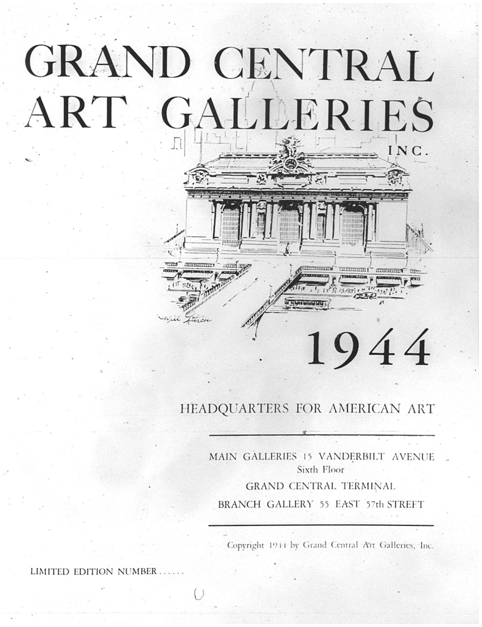 """Grand Central Art Galleries, Inc. 1944"" by Grand Central Art Galleries, Inc., New York, NY, 1944, illustrated: b&w on page 47"