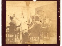 """Photo of Emil Carlsen Teaching Life Class at San Francisco School of Design, 1887"" owned and submitted by Dr. Gregory Conn, October 6, 2016"