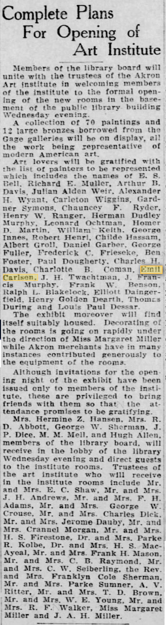 "Akron Beacon Journal, Akron, OH, ""Complete Plans For Opening of Art Institute"", Monday, January 30, 1922, page 6, not illustrated"