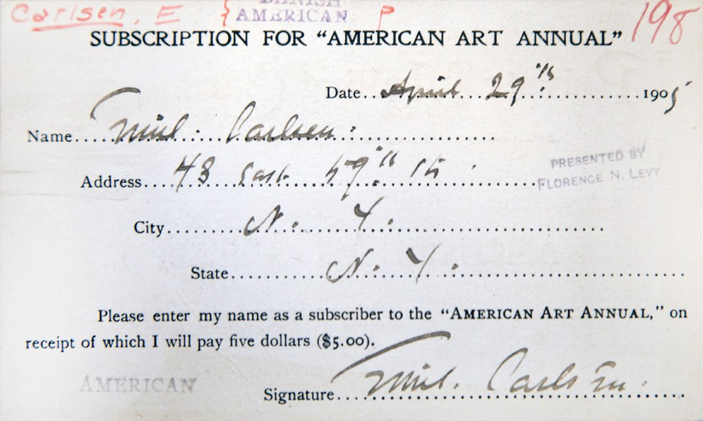 """""""Emil Carlsen Subscription for American Art Annual"""" provided by the Metropolitan Museum of Art, Watson Library, December 21, 2016"""