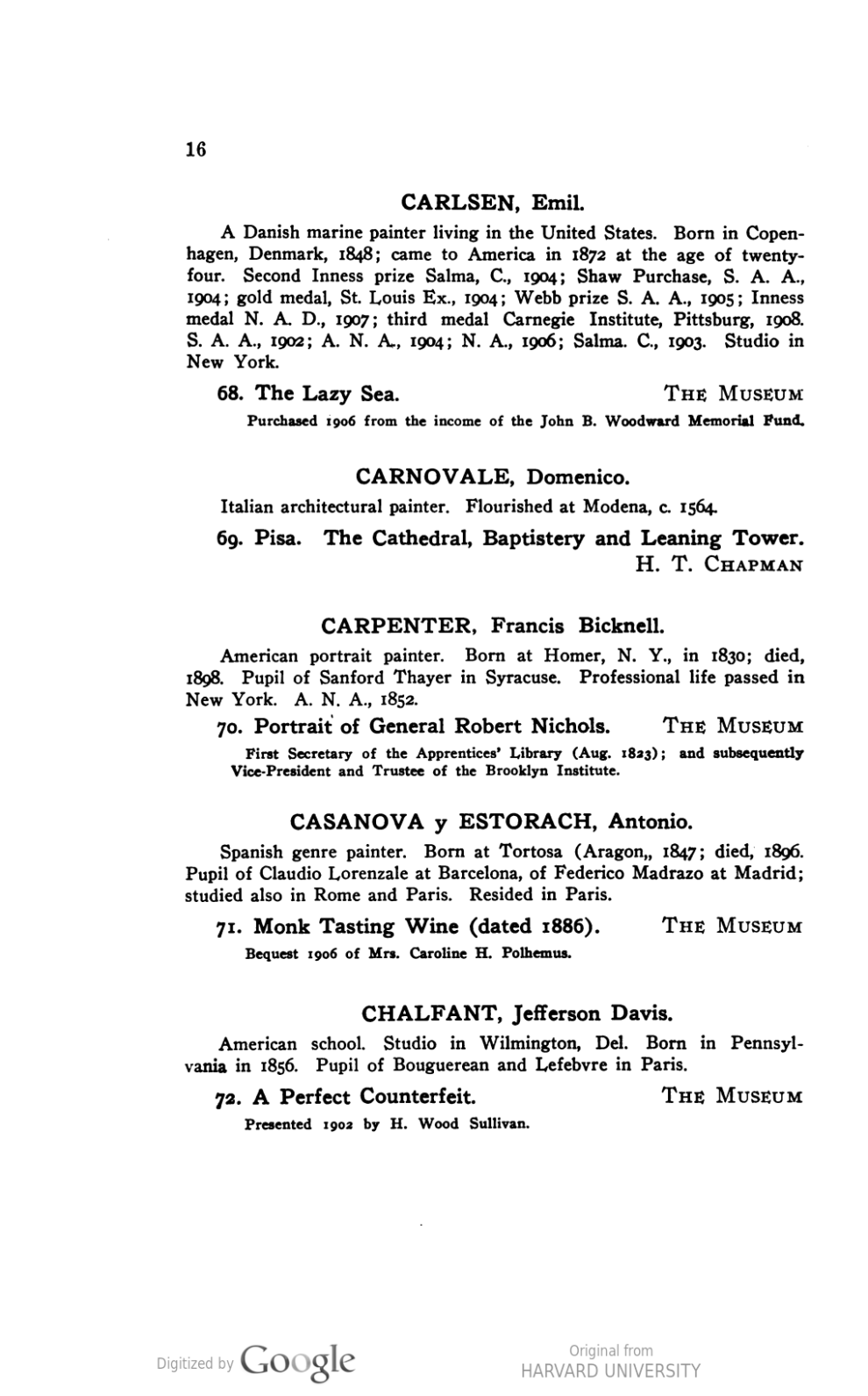 Catalogue of Paintings by William H Goodyear and A D Savage, Brooklyn Institute of Arts and Sciences, Brooklyn, NY, 1910