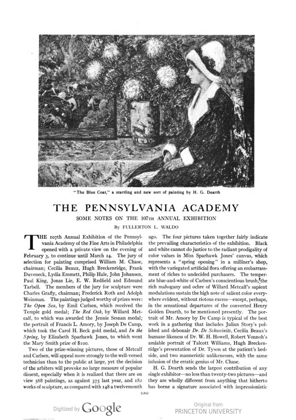 "Arts & Decoration, New York, NY, ""The Pennsylvania Academy: Some Notes on the 107th Annual Exhibition"" by Fullerton L Waldo, Volume 2, Number 5, March, 1912, page 180, not illustrated"