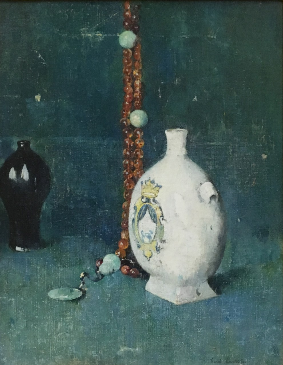 Emil Carlsen : Blue and white [with beaded necklace], ca.1922.
