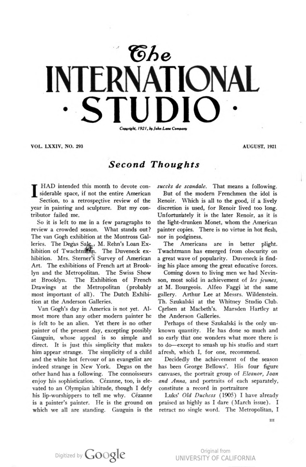 "The International Studio, John Lane Company, New York, NY, ""Second Thoughts"", Volume 74, Number 293, August, 1921"