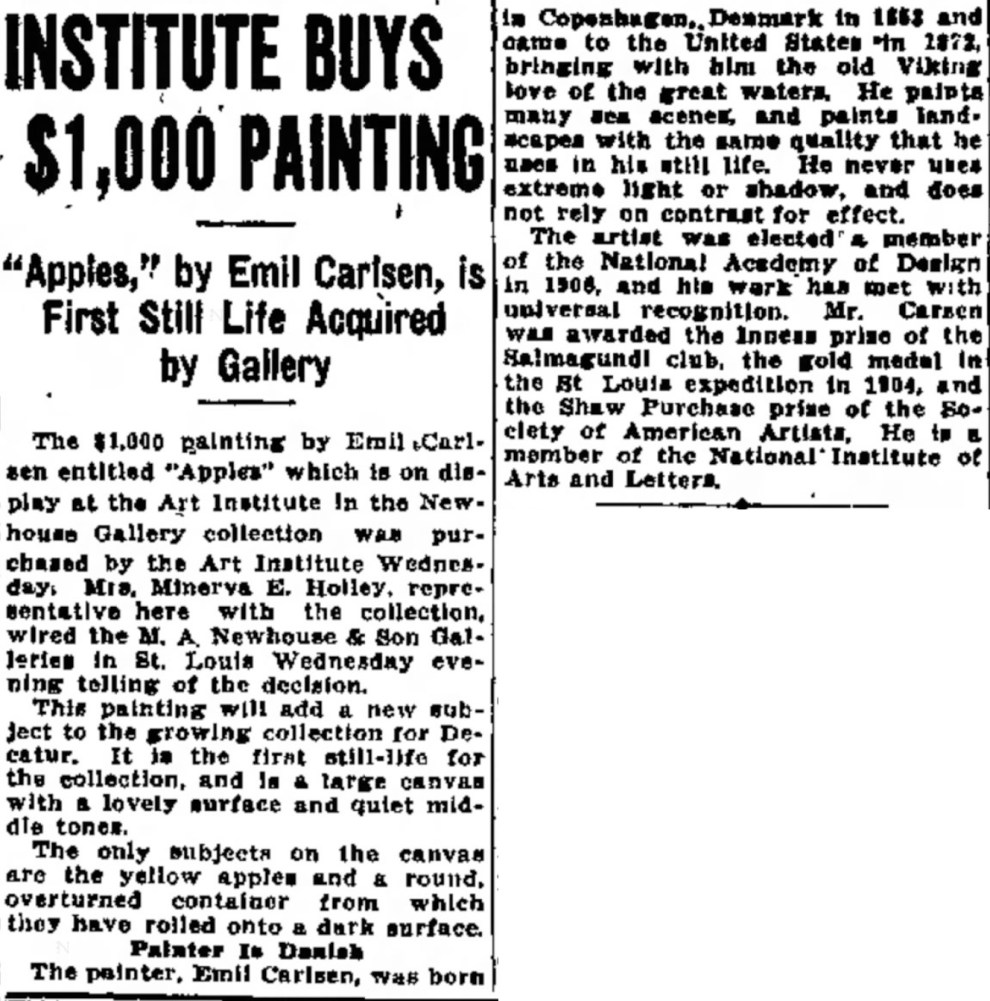 "Decatur Evening Herald, Decatur, IL, ""Institute buys $1,000 painting"", Friday, April 29, 1927, page 11, not illustrated."