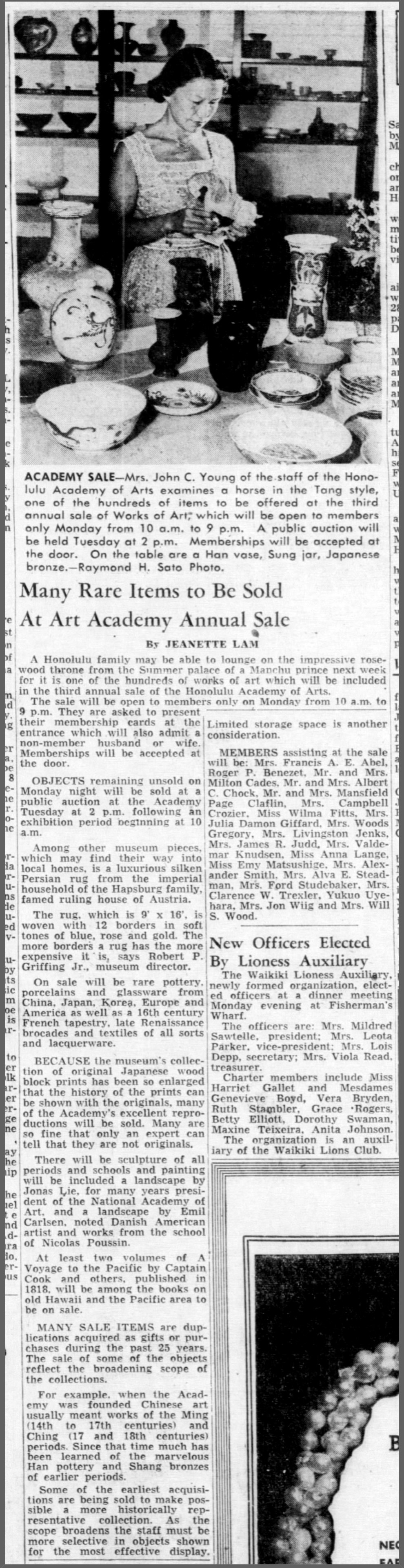 "Honolulu Star-Bulletin, Honolulu, HI, ""Many rare items to be sold at art academy annual sale"" by Jeanette Lam, Friday, October 9, 1953, page 15, not illustrated"