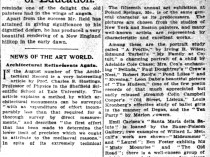 "New York Times, New York, NY, ""News of the Art World"", Sunday, August 29, 1909, page 57, not illustrated"
