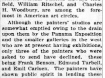"The Ithaca Journal, Ithaca, NY, ""Pictures of noted artists coming here"", Friday, May 14, 1915, page 5, not illustrated"