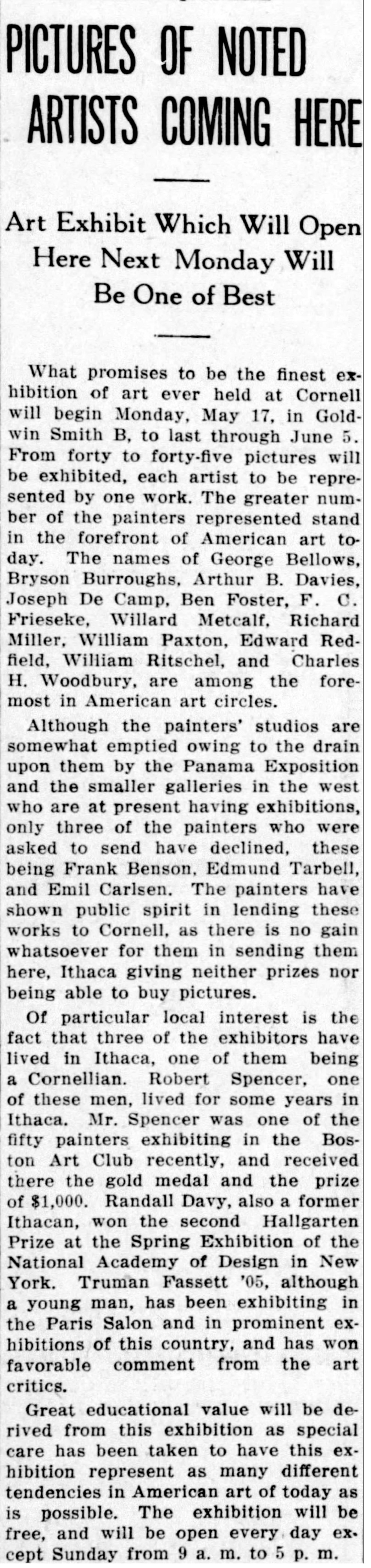 """The Ithaca Journal, Ithaca, NY, """"Pictures of noted artists coming here"""", Friday, May 14, 1915, page 5, not illustrated"""
