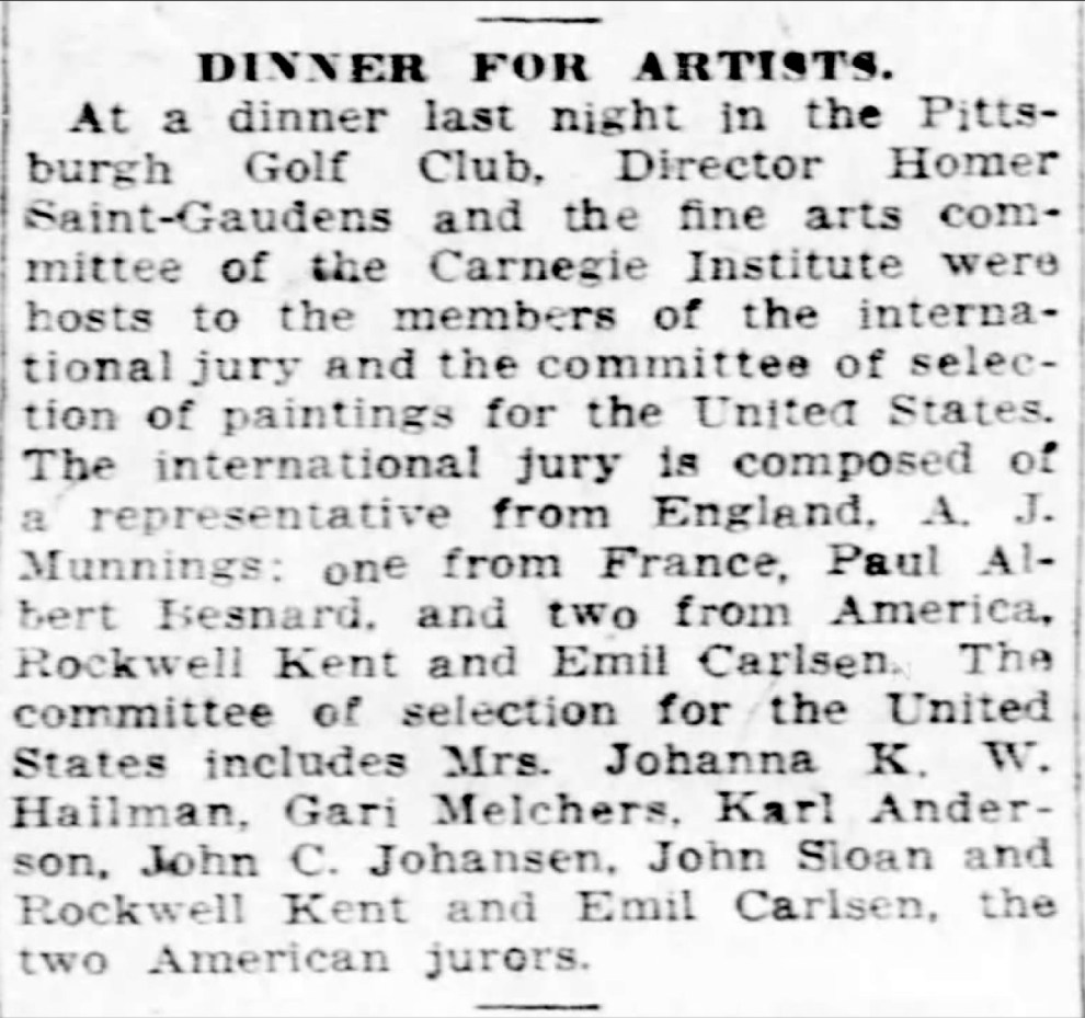 """Pittsburgh Daily Post, Pittsburgh, PA, """"Dinner for artists"""", Friday, April 4, 1924, page 5, not illustrated"""