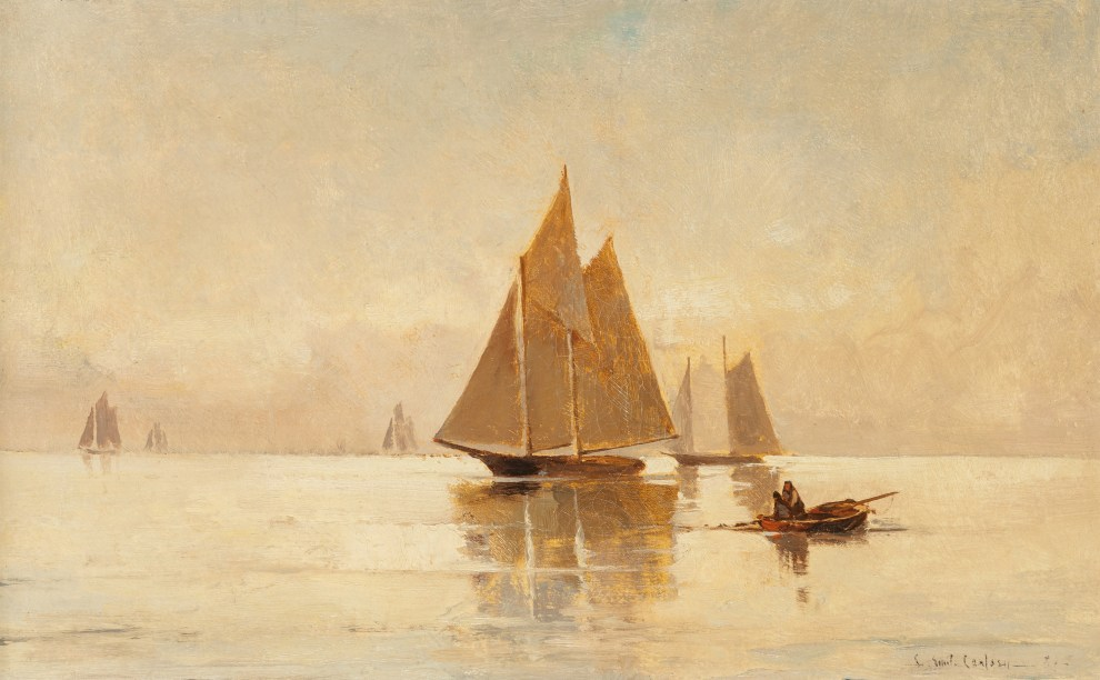 Emil Carlsen : Sailboats in the evening, ca.1882.