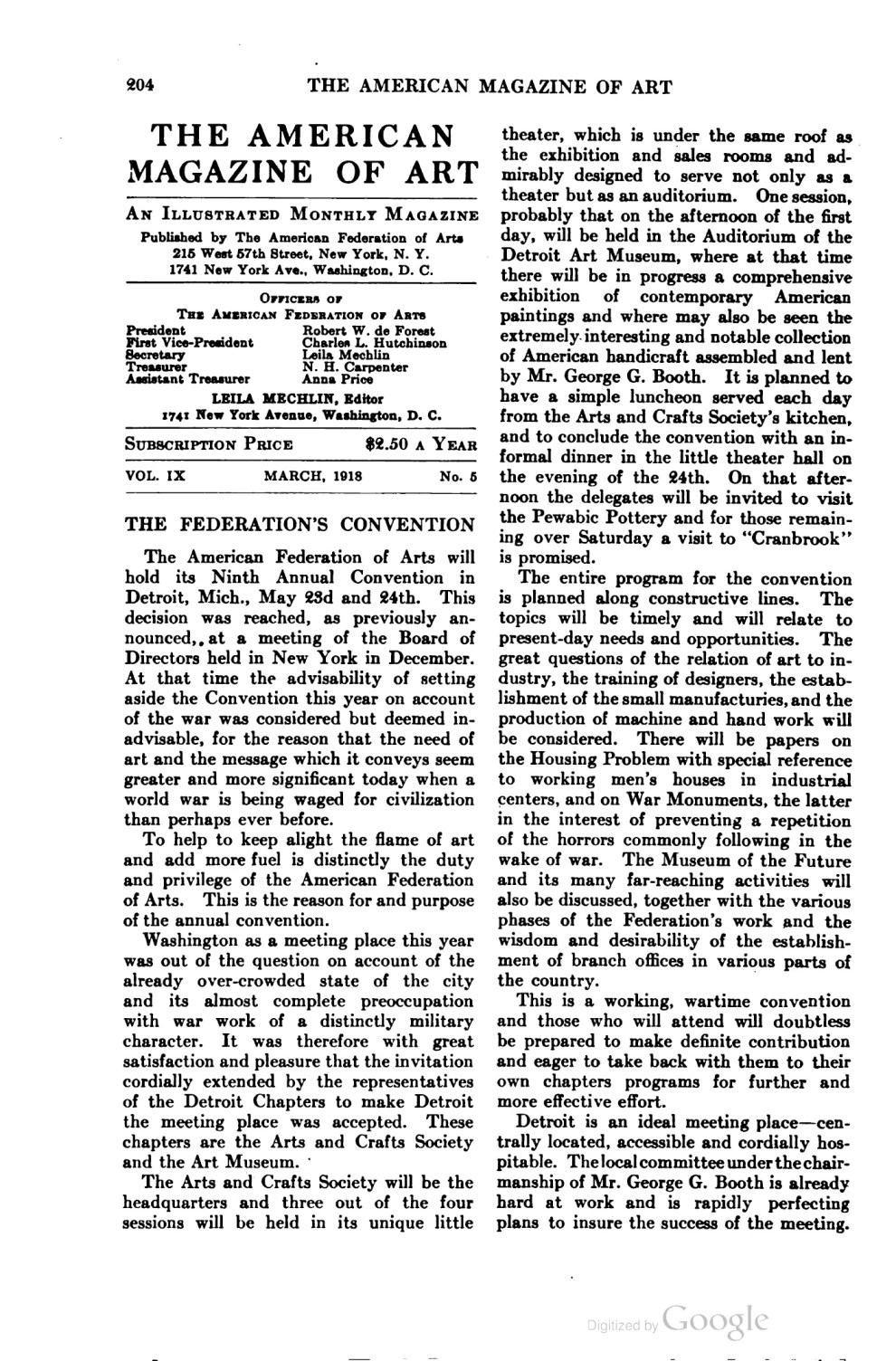 "The American Magazine of Art [Art of progress], The American Federation of the Arts, New York, NY, ""Notes : Works by alumni of Chicago Art Institute"", volume 9, number 5, March, 1918, page 206-207, not illustrated."