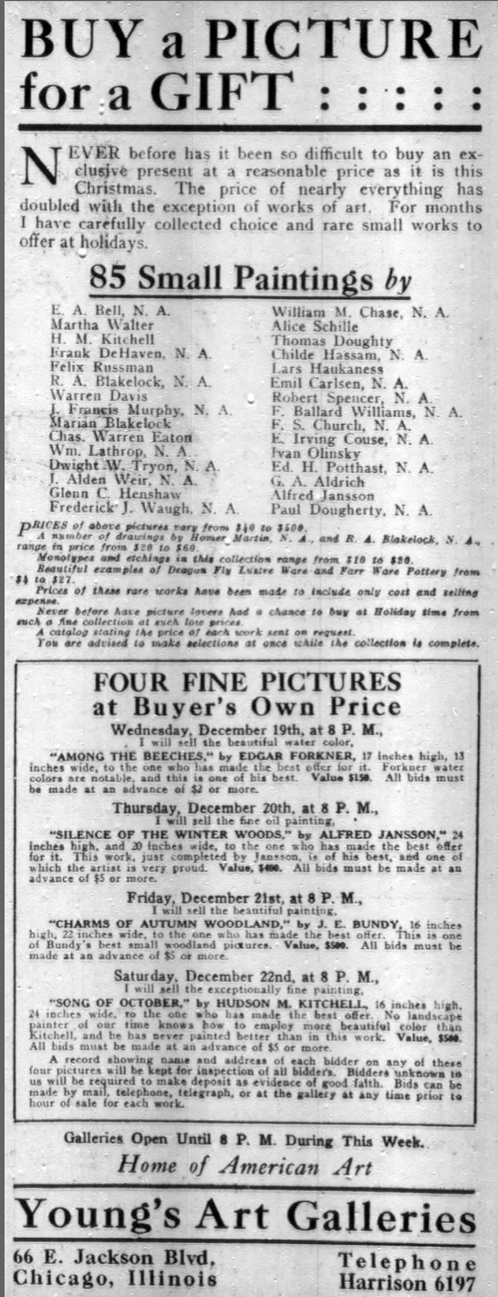"""Chicago Daily Tribune, Chicago, IL, """"Buy a picture for a gift"""", Tuesday, December 18, 1917, page 6, not illustrated"""