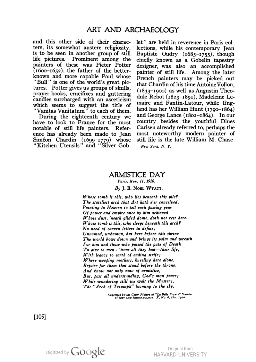 "Art and archaeology, the arts throughout the ages, Washington, DC, ""Still life: today and yesterday"" by Horace Townsend, January - June, 1921, volume 11, page 99-105, illustrated: b&w on page 103."