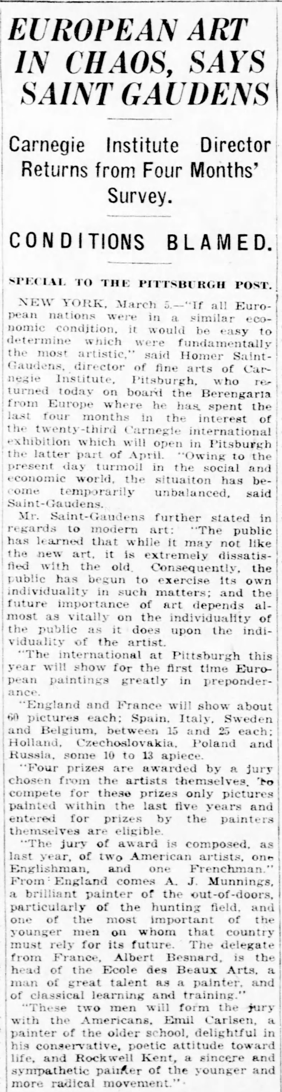 """Pittsburgh Daily Post, Pittsburgh, PA, """"European art in chaos, says Saint Gaudens : Carnegie Institute Director returns from four months' survey, conditions blamed"""", Thursday, March 6, 1924, page 13, not illustrated."""
