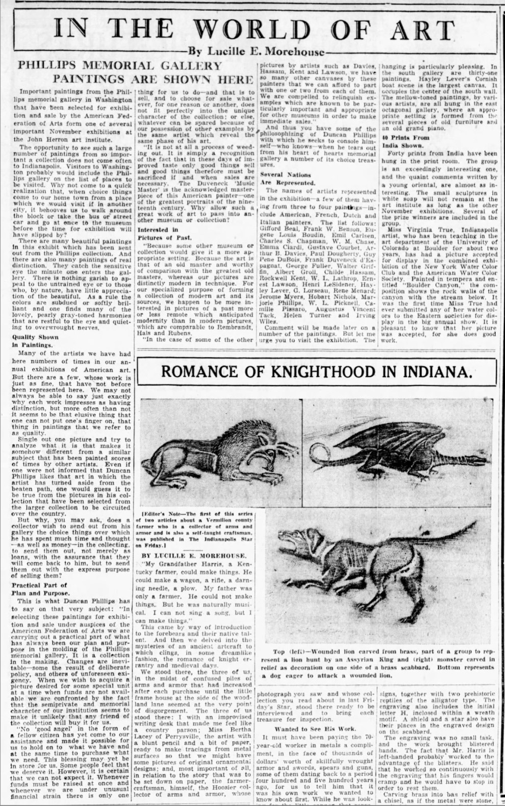 "The Indianapolis Star, Indianapolis, IN, ""In the world of art : Phillips memorial gallery paintings are shown here"" by Lucille E. Morehouse, Sunday, November 9, 1930, page 53, not illustrated."