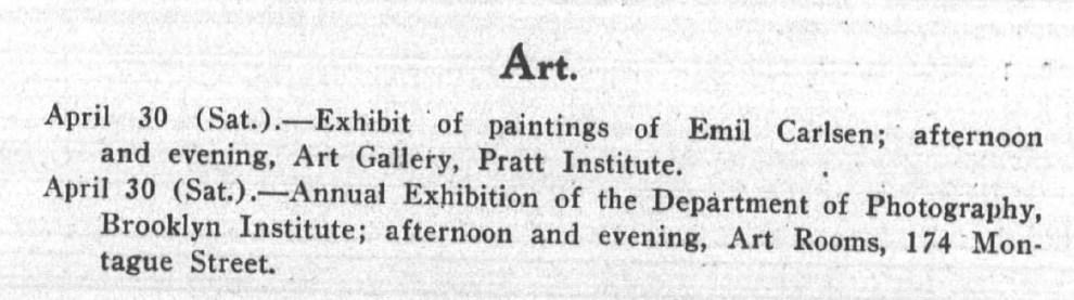 "Brooklyn Life, Brooklyn, NY, ""Art"", Saturday, April 30, 1910, page 3, not illustrated."