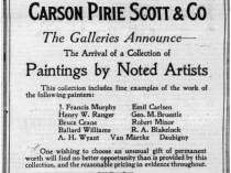 "Chicago Tribune, Chicago, IL, ""Ad for Emil Carlsen at Carson Pirie Scott & Co"", Wednesday, December 17, 1919, not illustrated."