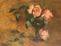 Emil Carlsen : Rose study with black glass roemer, ca.1897.
