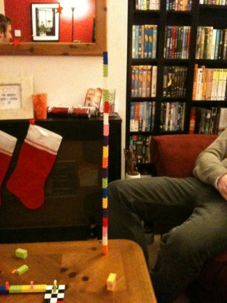 Our friend Andy's attempt at stacking Lego pieces end on end