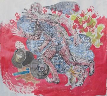 Chakra Running Painting, 42 by 46 in. Emilia Kallock 2013