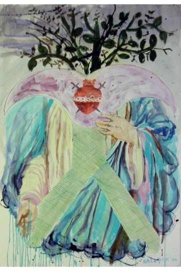 Deity, watercolor and ink on paper, 45 by 30 in. Emilia Kallock 2003