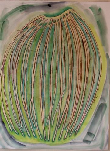 Gazebo 1, acrylic on paper, 34 by 22 in. Emilia Kallock 2003